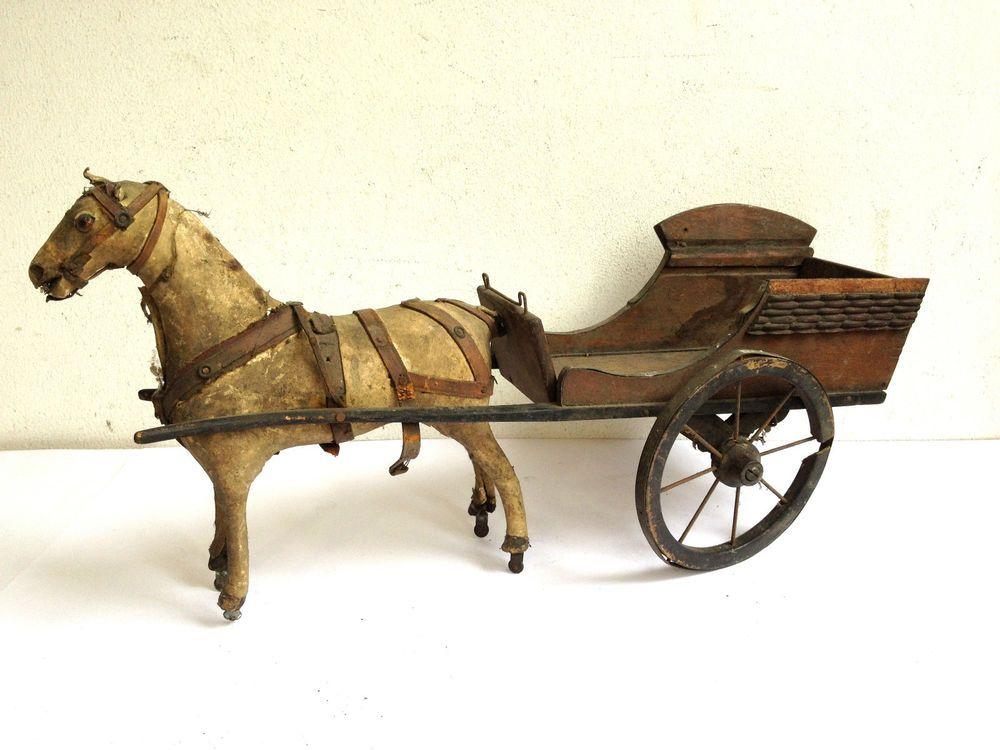 jouet ancien carriole charrette attelage en bois. Black Bedroom Furniture Sets. Home Design Ideas
