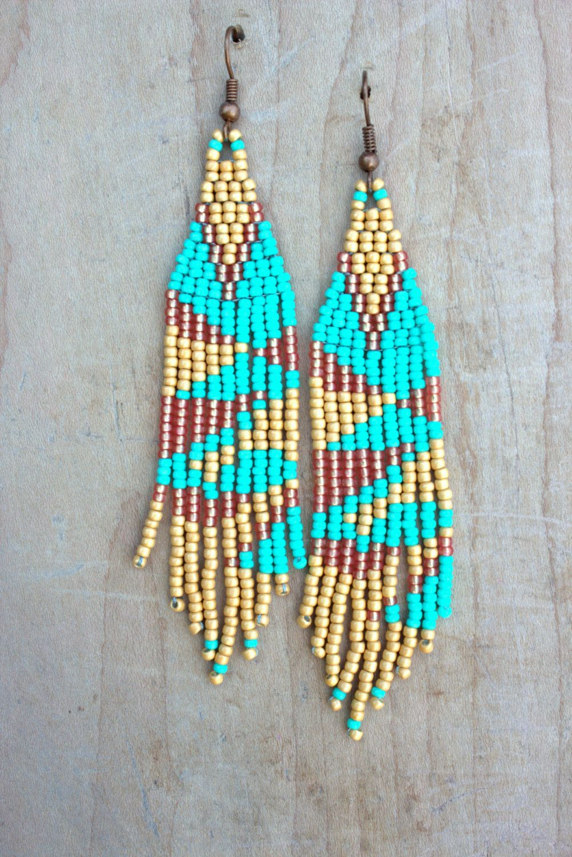 Beaded earrings native american style Boho beaded jewelry southwestern small seed bead earrings tiny earrings Tribal earrings drop earrings