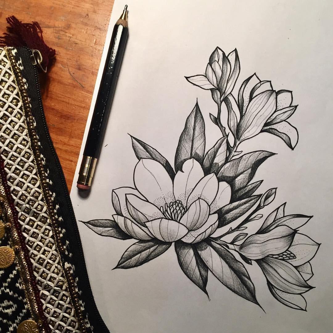 magnolia tattoo pinterest tattoo ideen zeichnen und blumen zeichnen. Black Bedroom Furniture Sets. Home Design Ideas