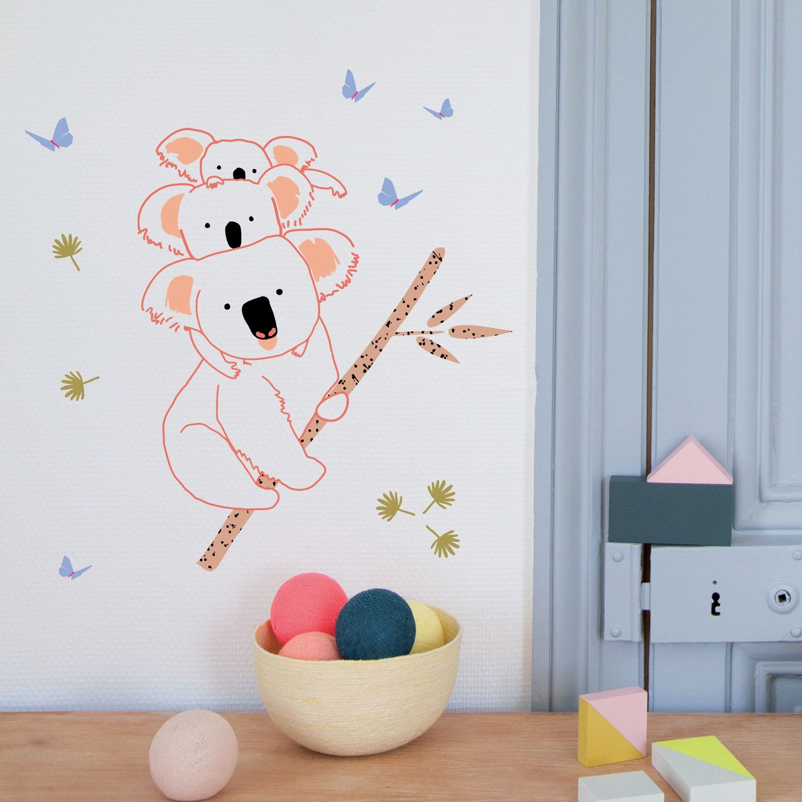Sticker Mural Koala Family 40 X 37 Cm Stickers Muraux