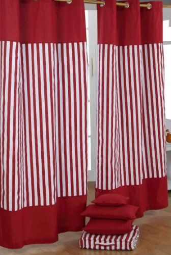GBP1999 Red Striped Curtains