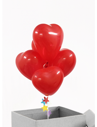 Heart Shaped Balloons In A Box Surprise Gift Hyderabad Online Same Day Delivery