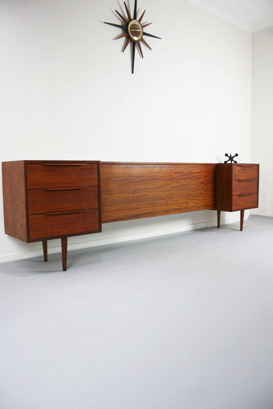 MID Century Bedside Tables Drawers QB Bedhead Retro Vintage Hayson ...