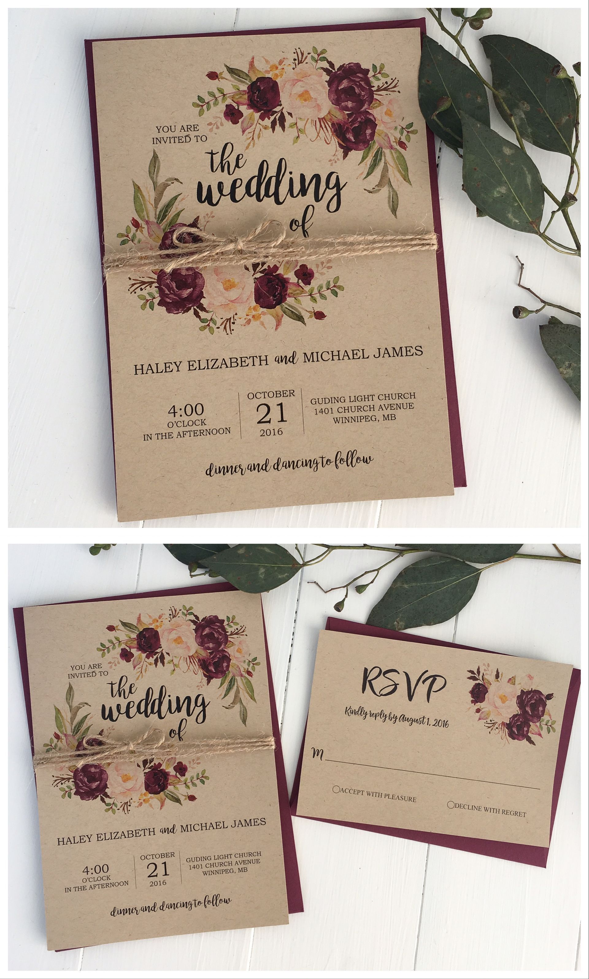 ideas for country wedding invitations%0A Rustic Country Wedding Invitation   Autumn Leaves on Faux Burlap  PRINTED  Wine Ribbon   Textured background  Autumn colours and Twine