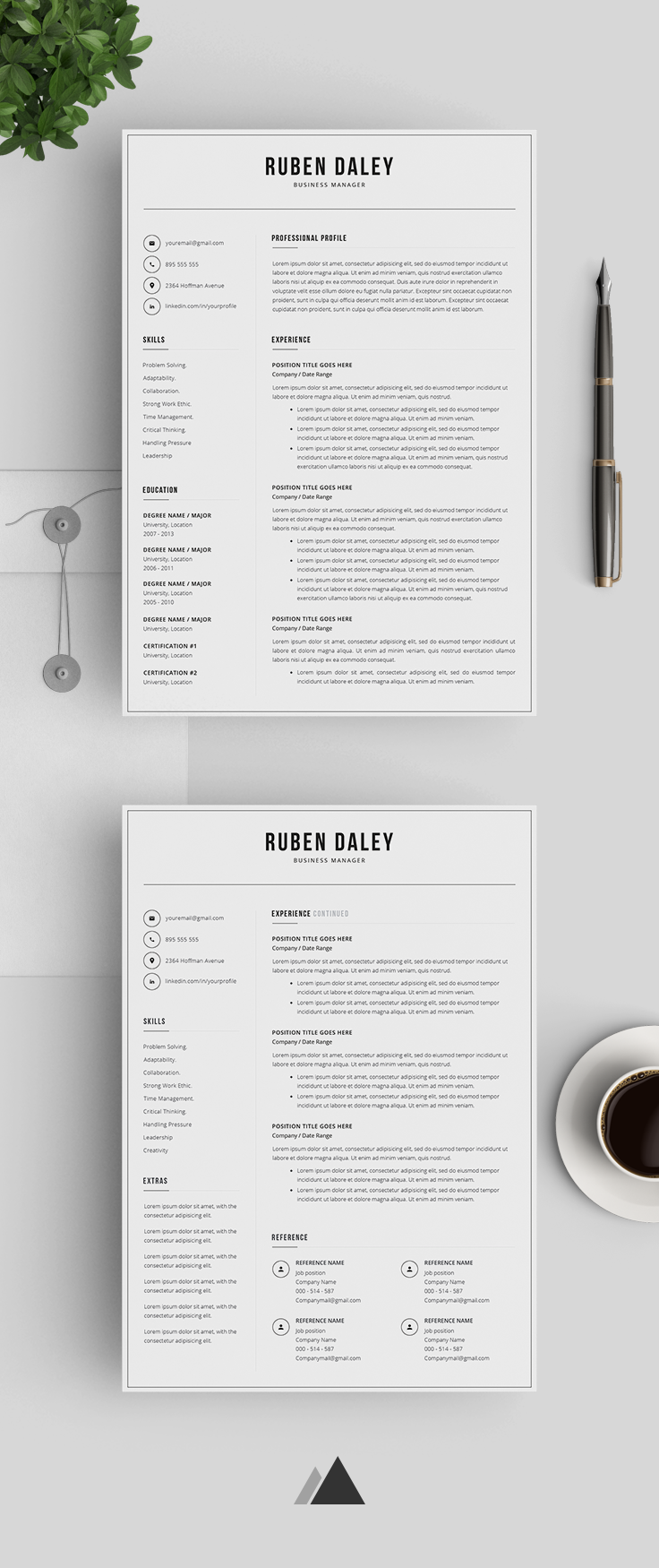 Resume Template For Kids Modern Resume Template 3 Pages  Professional Resume Template .