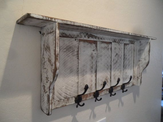 French Country Coat Rack Cottage Chic Primitive Hall Tree Wall Shelf Shabby