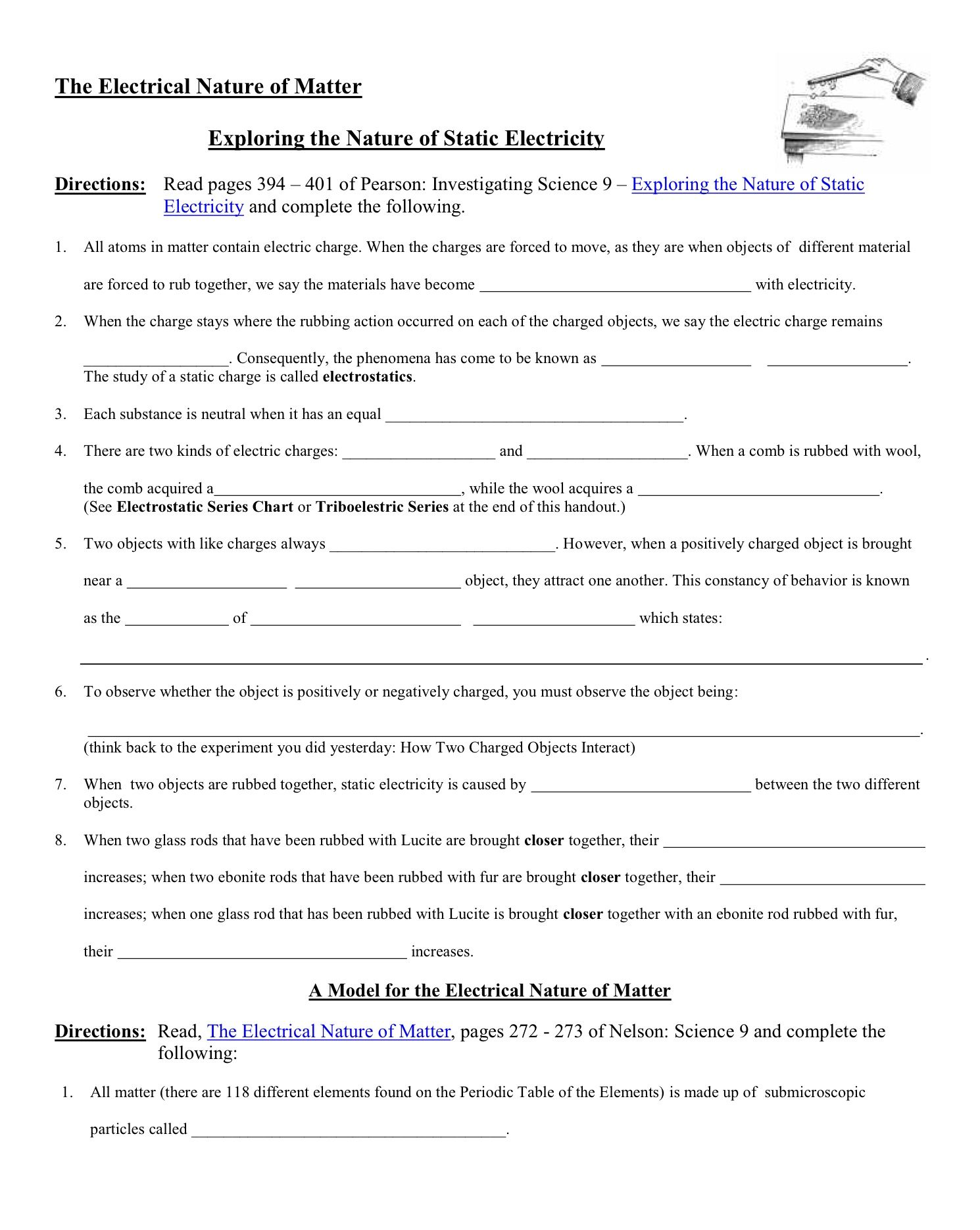 Static Electricity Worksheet Answers Physics Classroom
