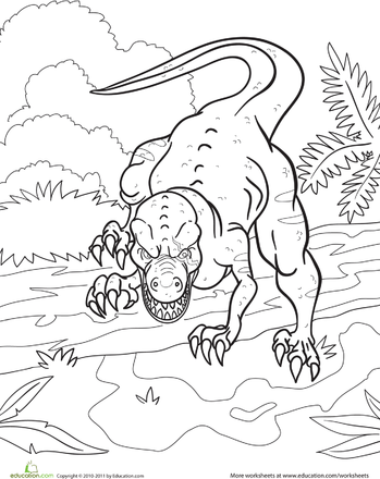 Angry Dinosaur Coloring Page