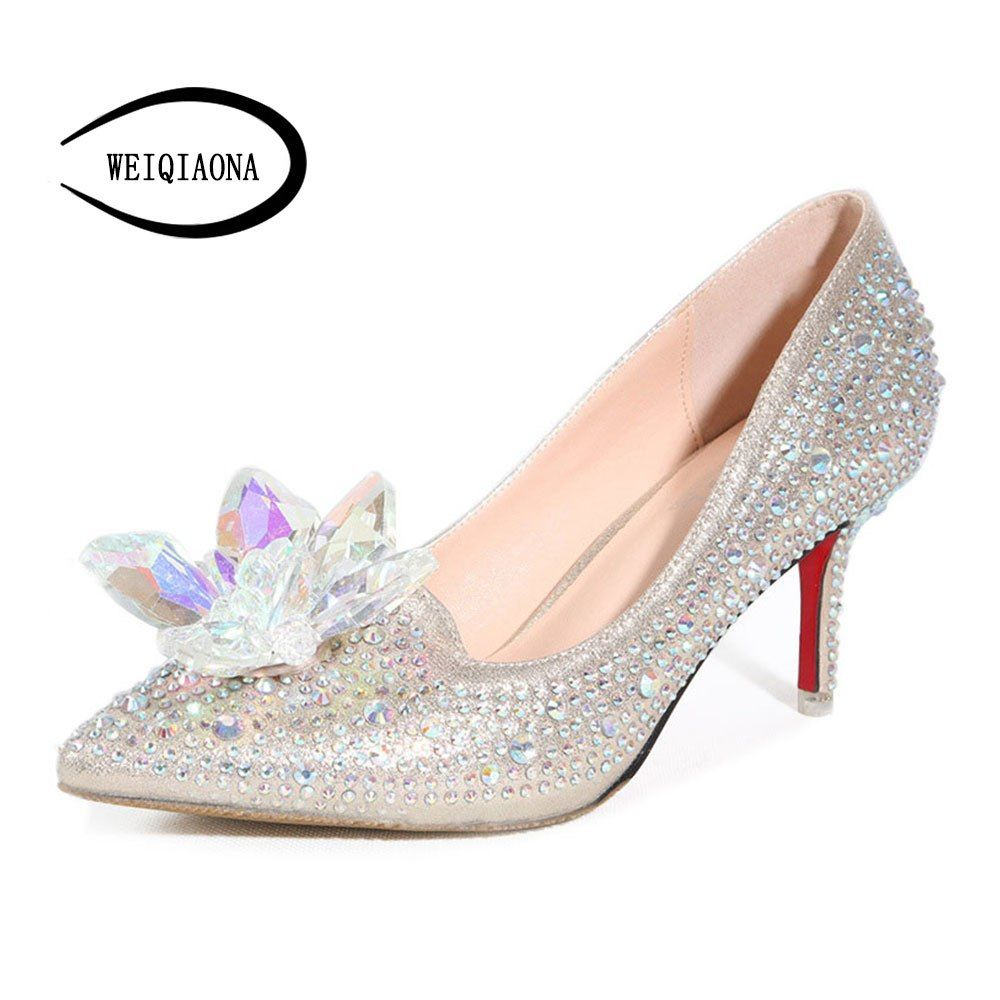 c1b747877cf3e WEIQIAONA Cinderella Glass Slipper Pointed Heels Red Bottom Women Pumps  Pointed Toe High HeelsLeather Diamond Wedding Shoes.