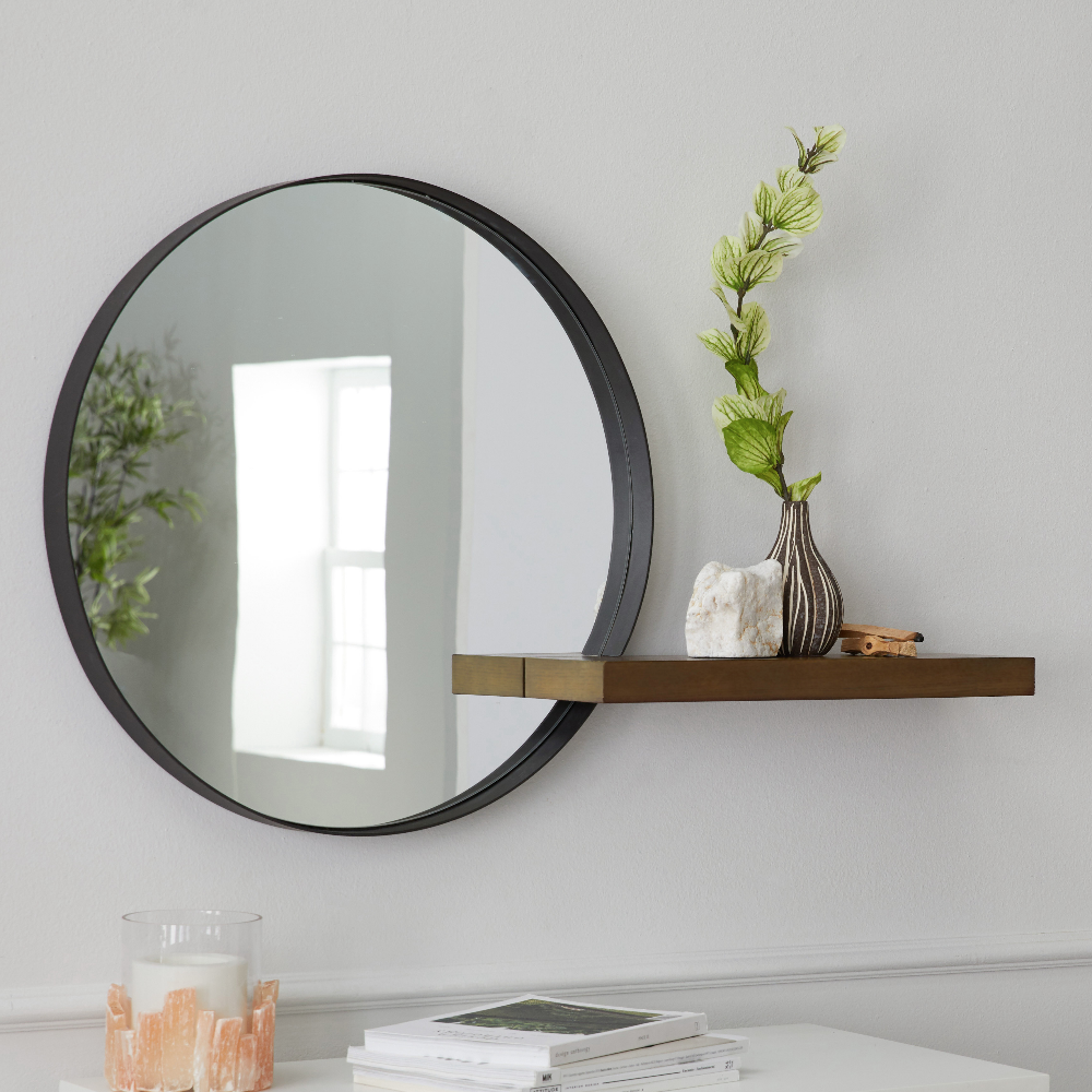 Modrn Naturals Metal Framed Round Decorative Wall Mirror With Wood Shelf Walmart Com Mirror Wall Decor Mirror Wall Wood Shelves