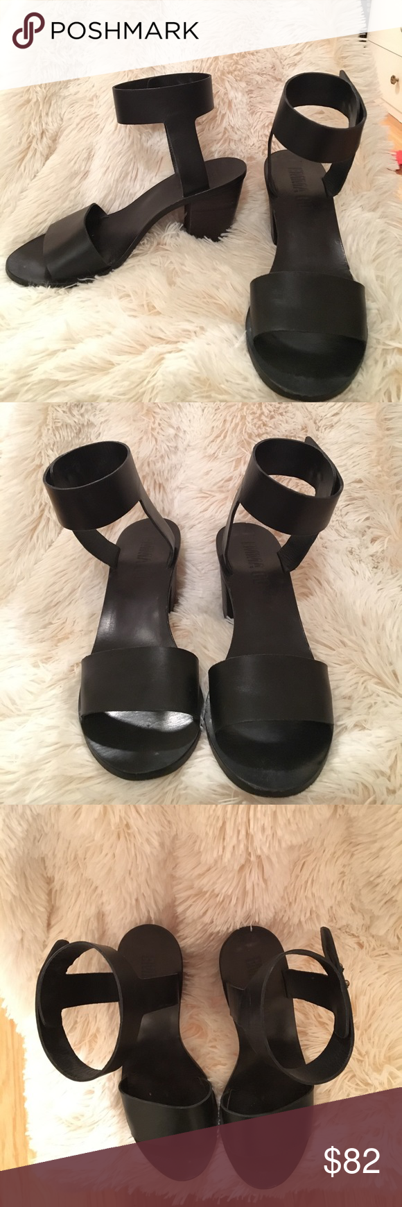 Emma Go black sandal heels sz38 ankle closure Emma Go sandals with small-medium heel. Ankle closure sz 38. Brand is from Copenhagen, see image for website. Only worn 3 times total. emma go Shoes Sandals