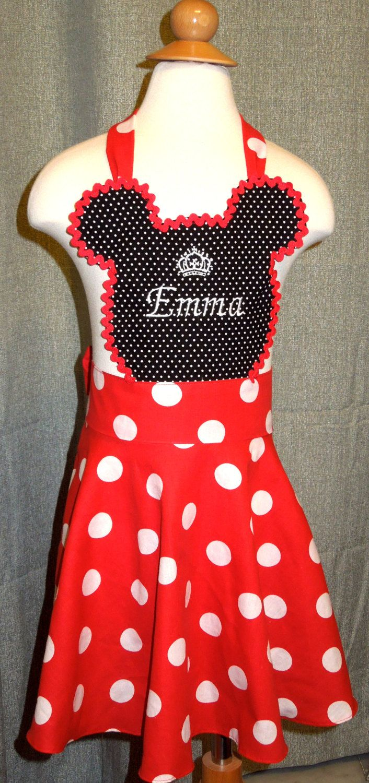 minnie mouse apron - toddler personalized apron  girl apron - kids apron
