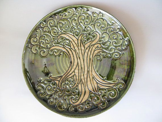 Hand Carved Green Tree Plate by EKSPottery on Etsy, $65.00