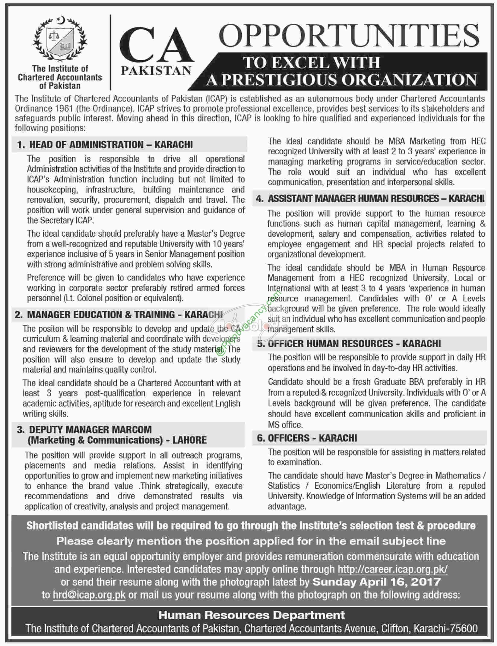 The Institute Of Chartered Accountant Of Pakistan Icap Jobs