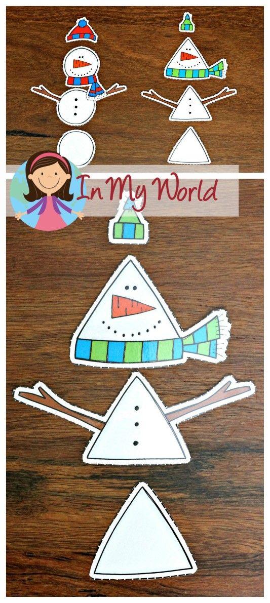FREE Winter Preschool Center Activities: Build a snowman by his shape