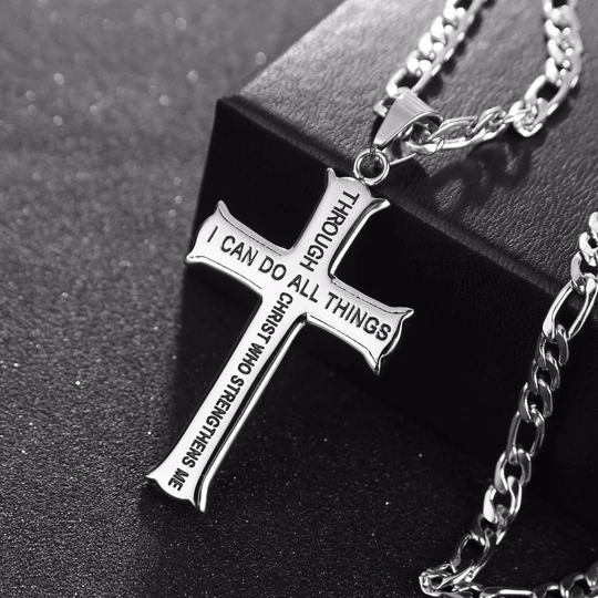 Cross Necklace With Curb Chain Noolzie
