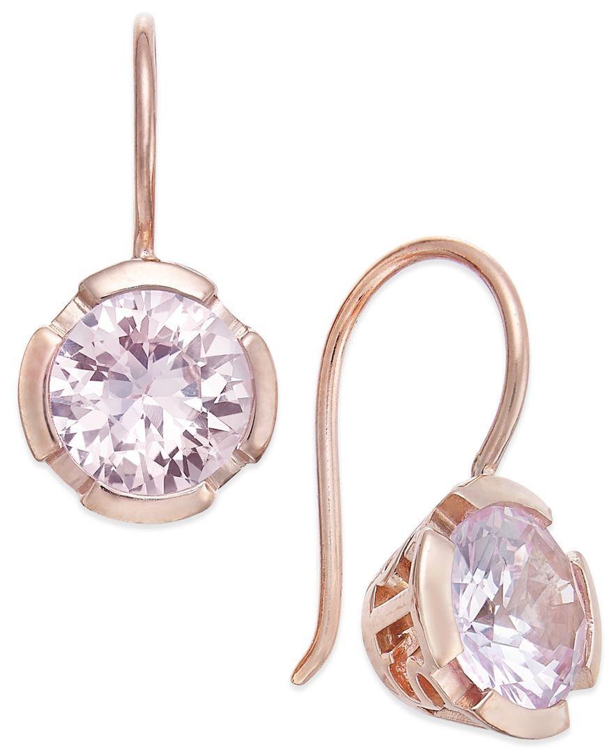 Thomas Sabo Pink Crystal Drop Earrings In 18k Rose Gold Plated Sterling Silver Jewelry Wat Silver Crystal Earrings Blue Drop Earrings Crystal Drop Earrings