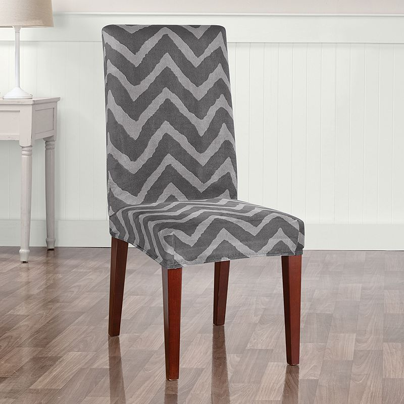 Sure Fit Stretch Plush Chevron Short Dining Room Chair Slipcover Classy Grey Dining Room Chair Covers Inspiration Design