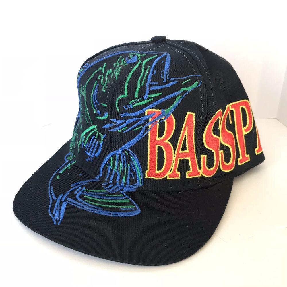 Vintage Bass Pro Shops Snapback Hat Embroidered Fishing Black Blue Green Gift Ebay Bass Pro Shop Hat Vintage Bass Hats