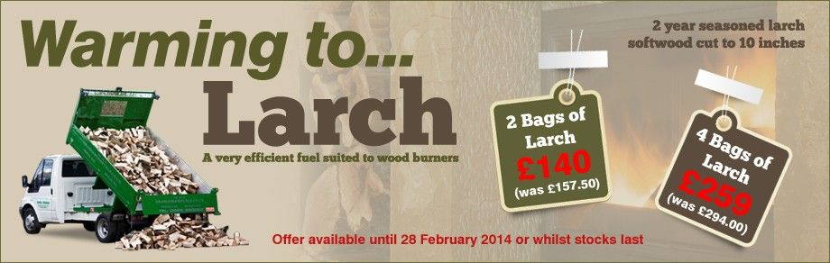 Get your larch logs delivered to warm your house before the snow comes! On sale until 28th February, don't miss out!