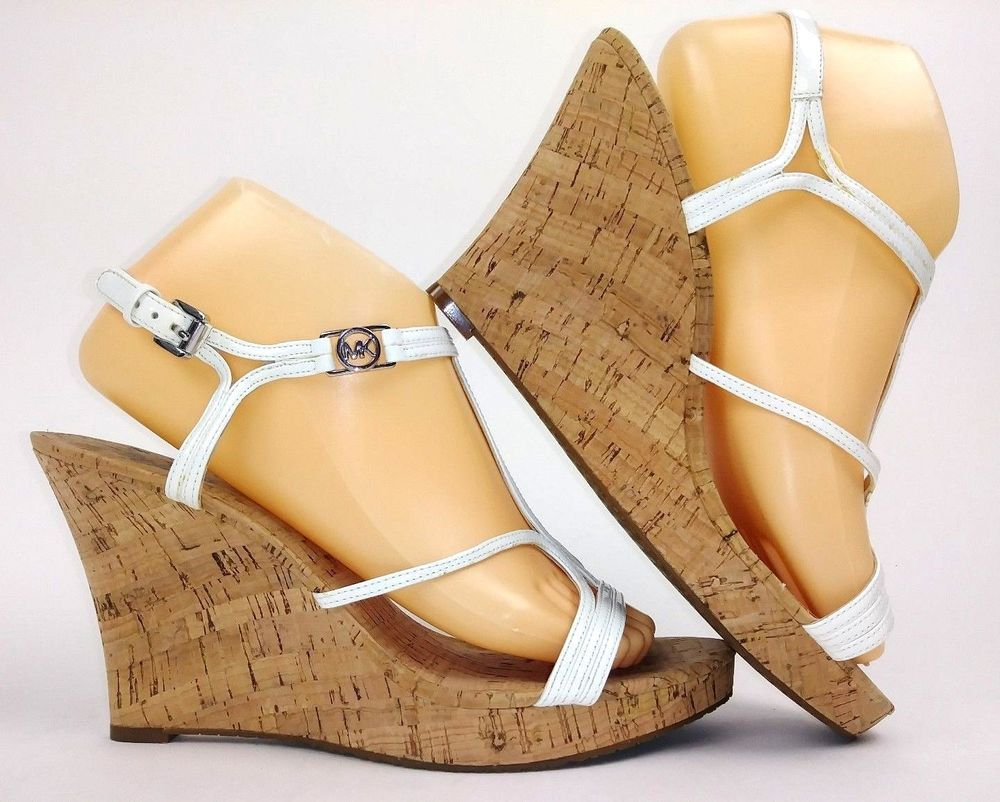 50b4582f132a93 Michael Kors Womens Wedges Sandals Size 10 White Strappy Cork Wedge   MichaelKors  PlatformsWedges