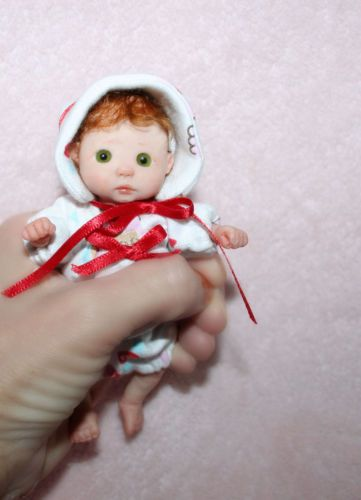 OOAK Polymer Clay Baby Girl Sculpt poseable Sweet Cheeks Creations Doll