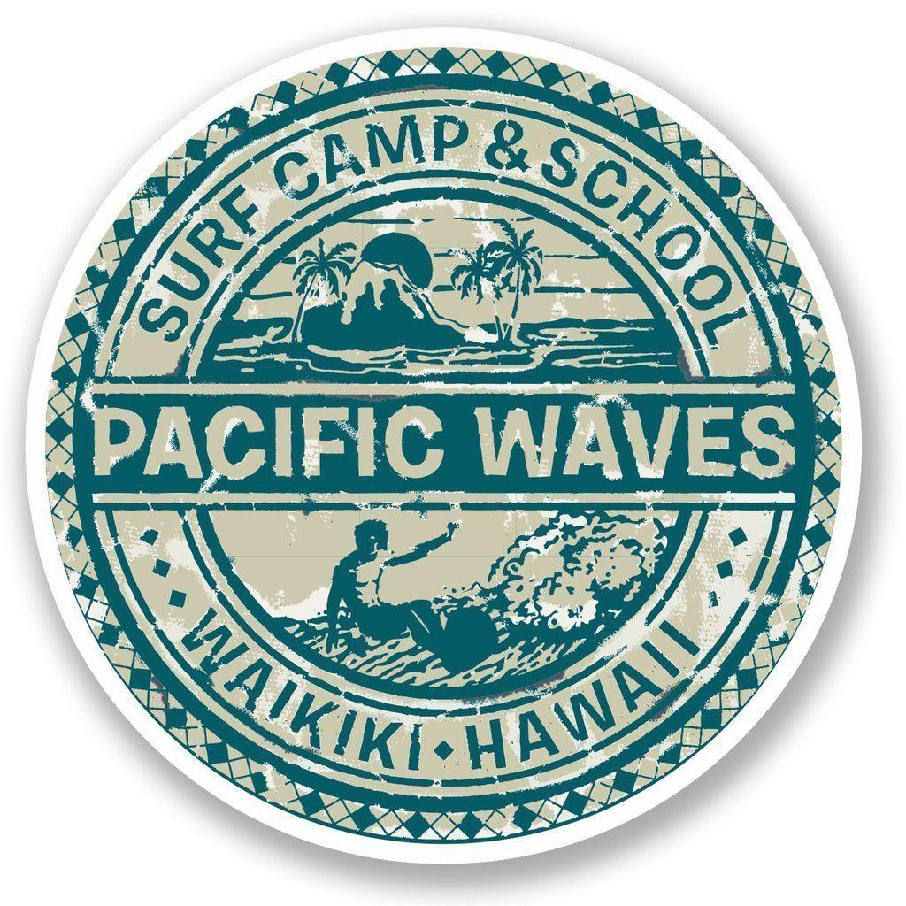 2 X Hawaii Surf Camp Vinyl Sticker Laptop Travel Luggage Car 5512 Surf Stickers Vinyl Stickers Laptop Surfer Stickers [ jpg ]