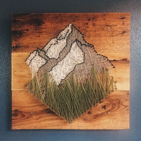 manualidades con hilos y madera. montañas #stringart