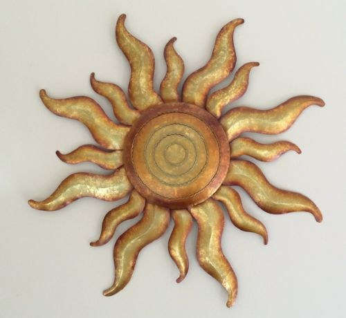 Golden Sun Celestial Wall Art Metal Gold Sunburst Garden Decor ...