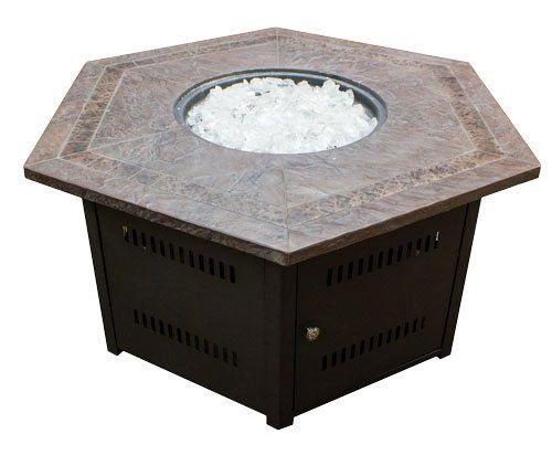 Hiland Fire Pit Hexagon With Slate Table Large Fire Pit
