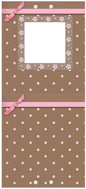 Marrom e Rosa - Kit Completo com molduras para convites, rótulos para guloseimas, lembrancinhas e fundos!