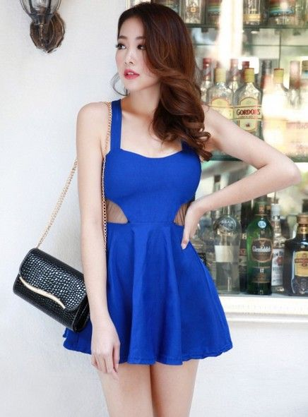 Korean Style Sexy Night Club Tulle Splice Dress @Cheap Korean ...