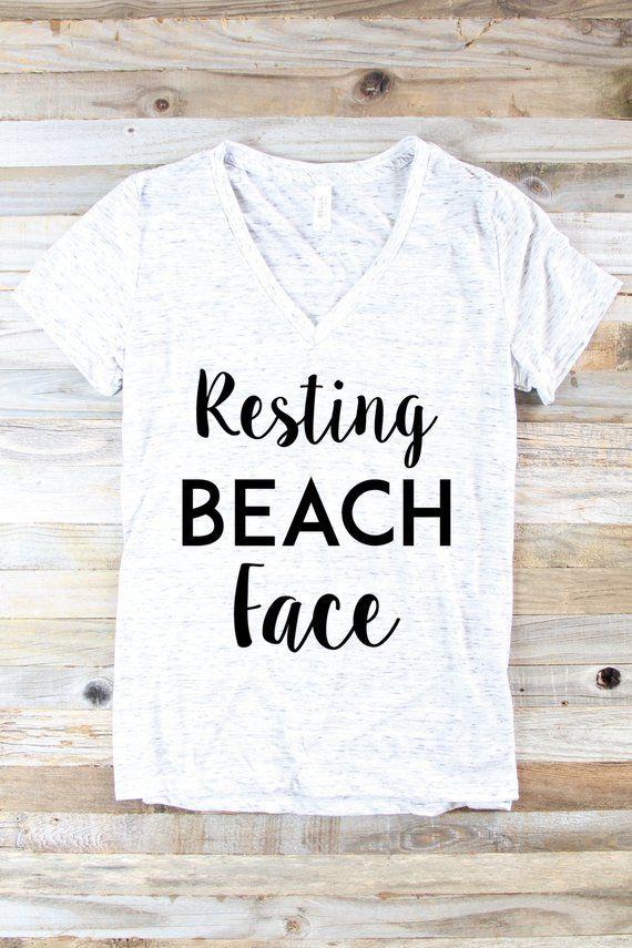 Womens Smile Palm Trees Graphic Tee Beach Bum Ocean Graphic ladies V-Neck top