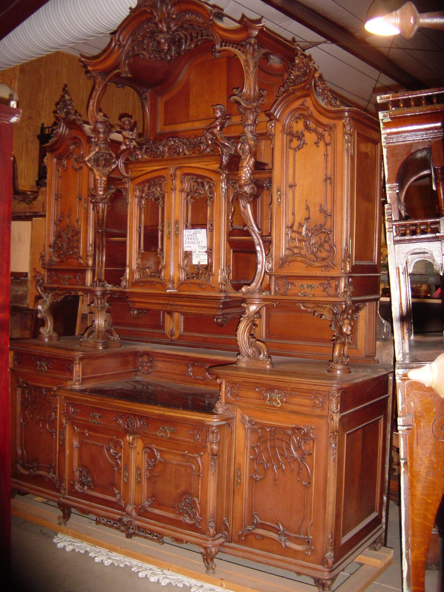 Detail -. Antique Fireplace Carved