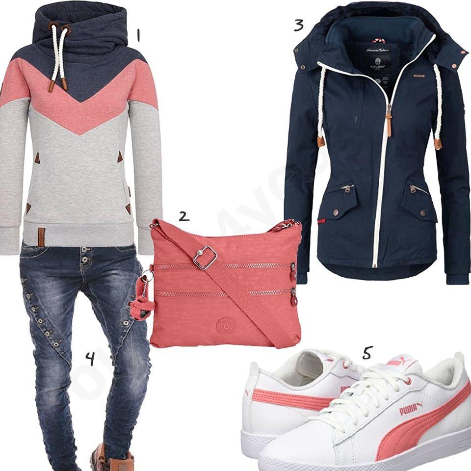 rosa blaues damenoutfit mit hoodie sneaker und jeans a. Black Bedroom Furniture Sets. Home Design Ideas