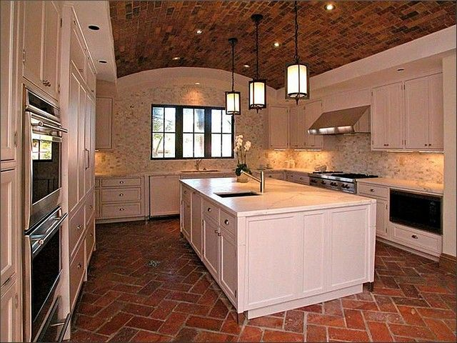 20 kitchen designs with brick flooring | brick flooring, bricks