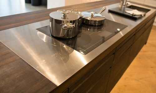 Wood Countertop With Stainless Steel Inlay Stainless Steel
