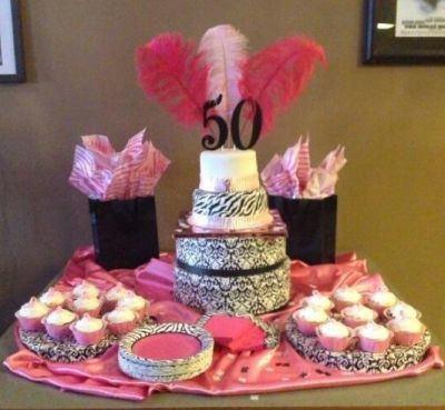 A fabulous pink and black 50th birthday display See more planning