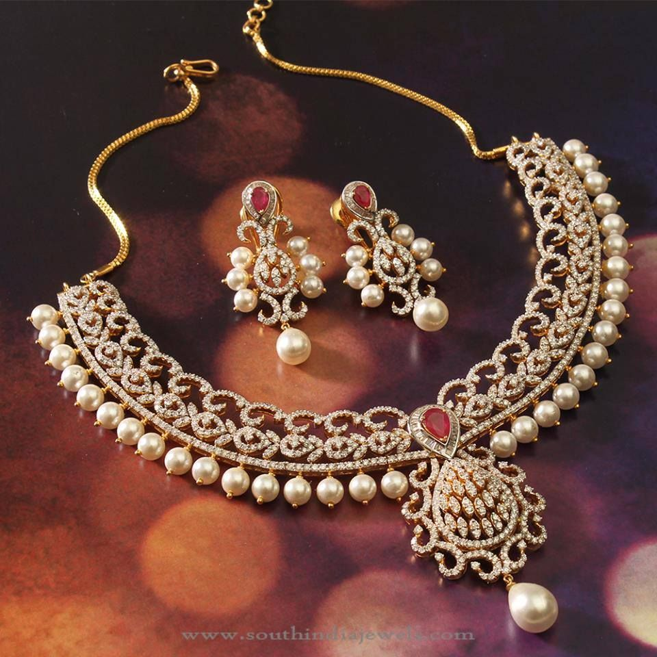 Gold Diamond Pearl Necklace Designs, Diamond Necklace With Pearls.