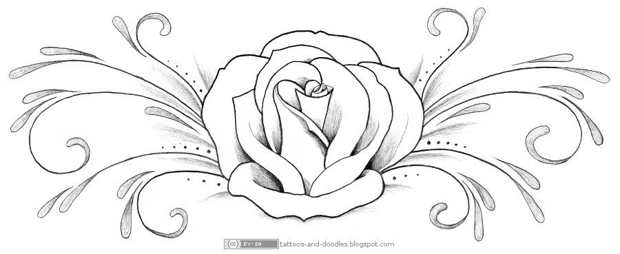 Rose Outline Template  Back  Gallery For  Rose Tattoo Template