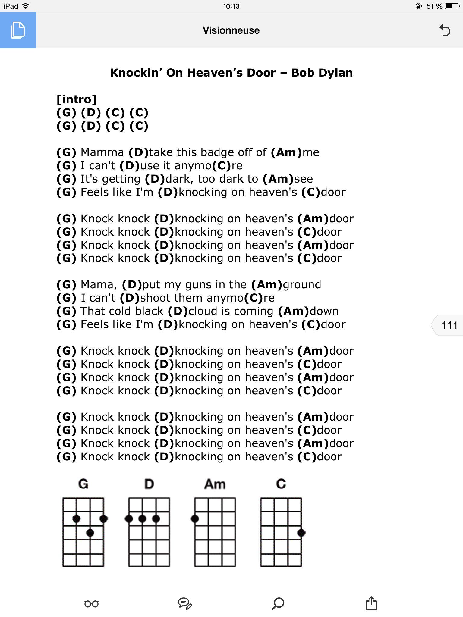 Knockin On Heaven S Door Guitar Chords And Lyrics Ukulele Chords Songs Ukulele Songs