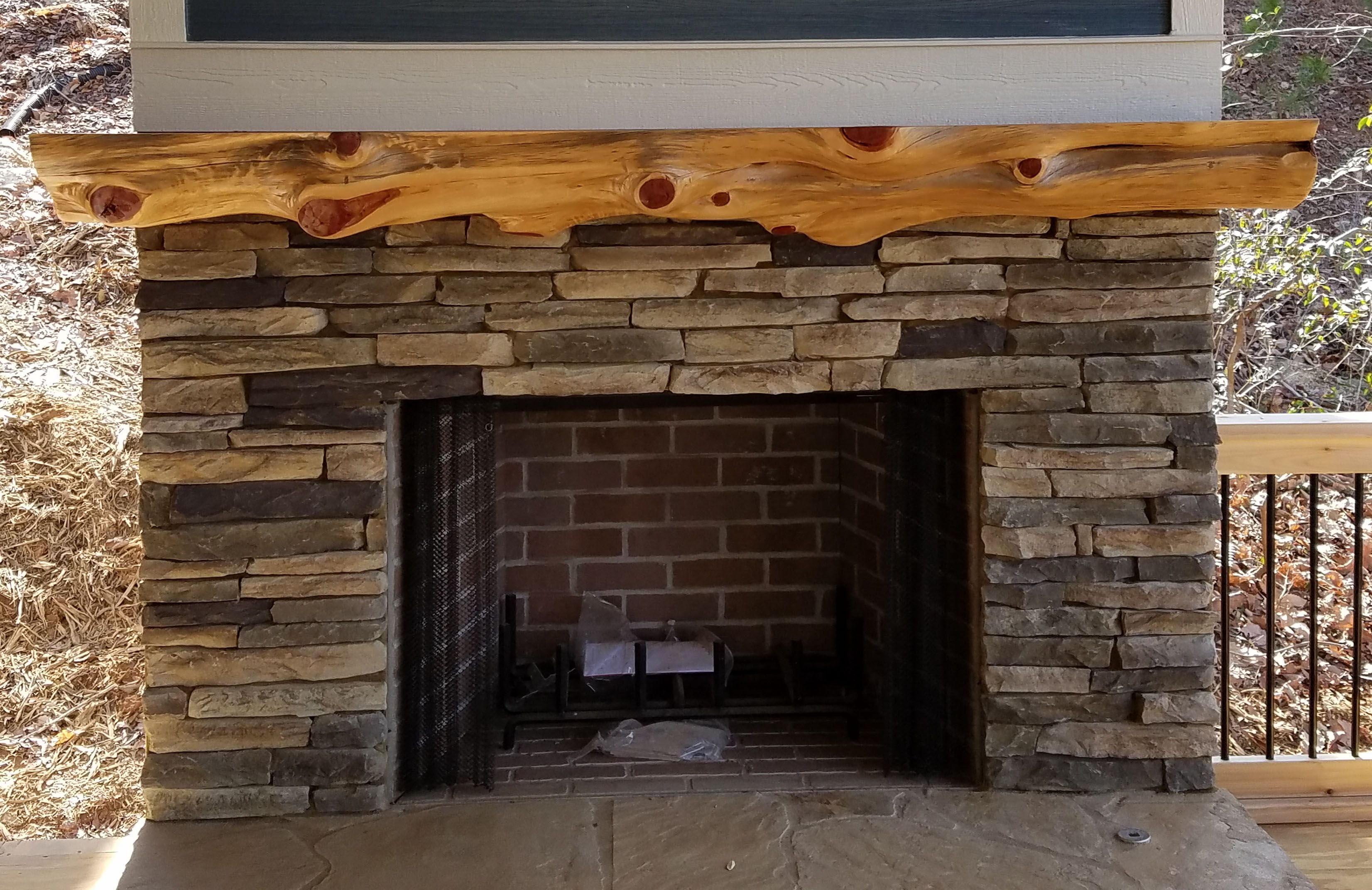 Cedar 3 4 Round Mantel On Outdoor Patio Fireplace