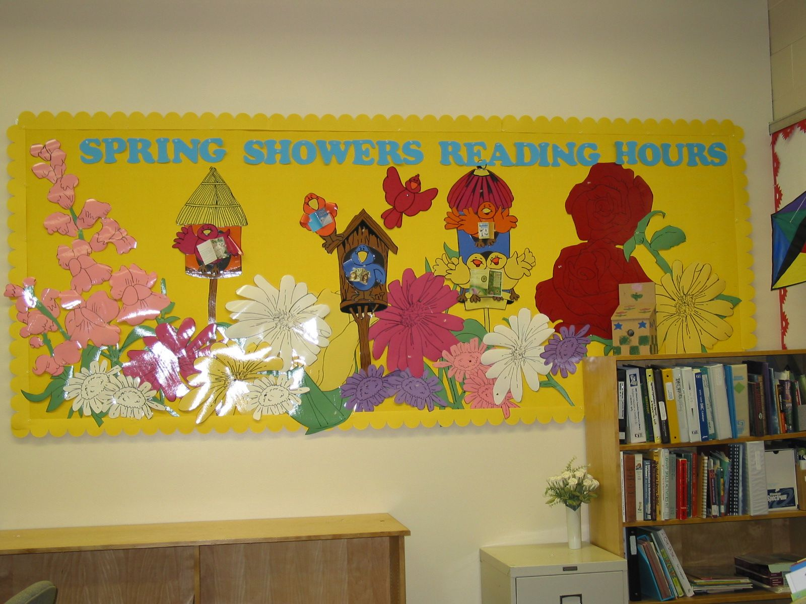 Barbra Hesson » Library Bulletin Boards spring showers reading hours ...