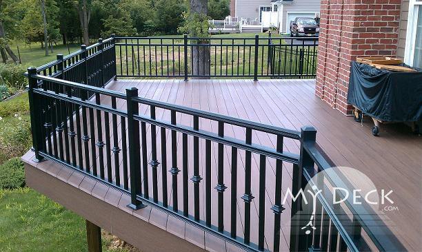 Black aluminum rails and azek acacia decking outdoor