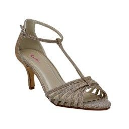 Estelle - Gold Metallic T-bar Sandal Shoes by Rainbow Club - Buy online from £79.00.