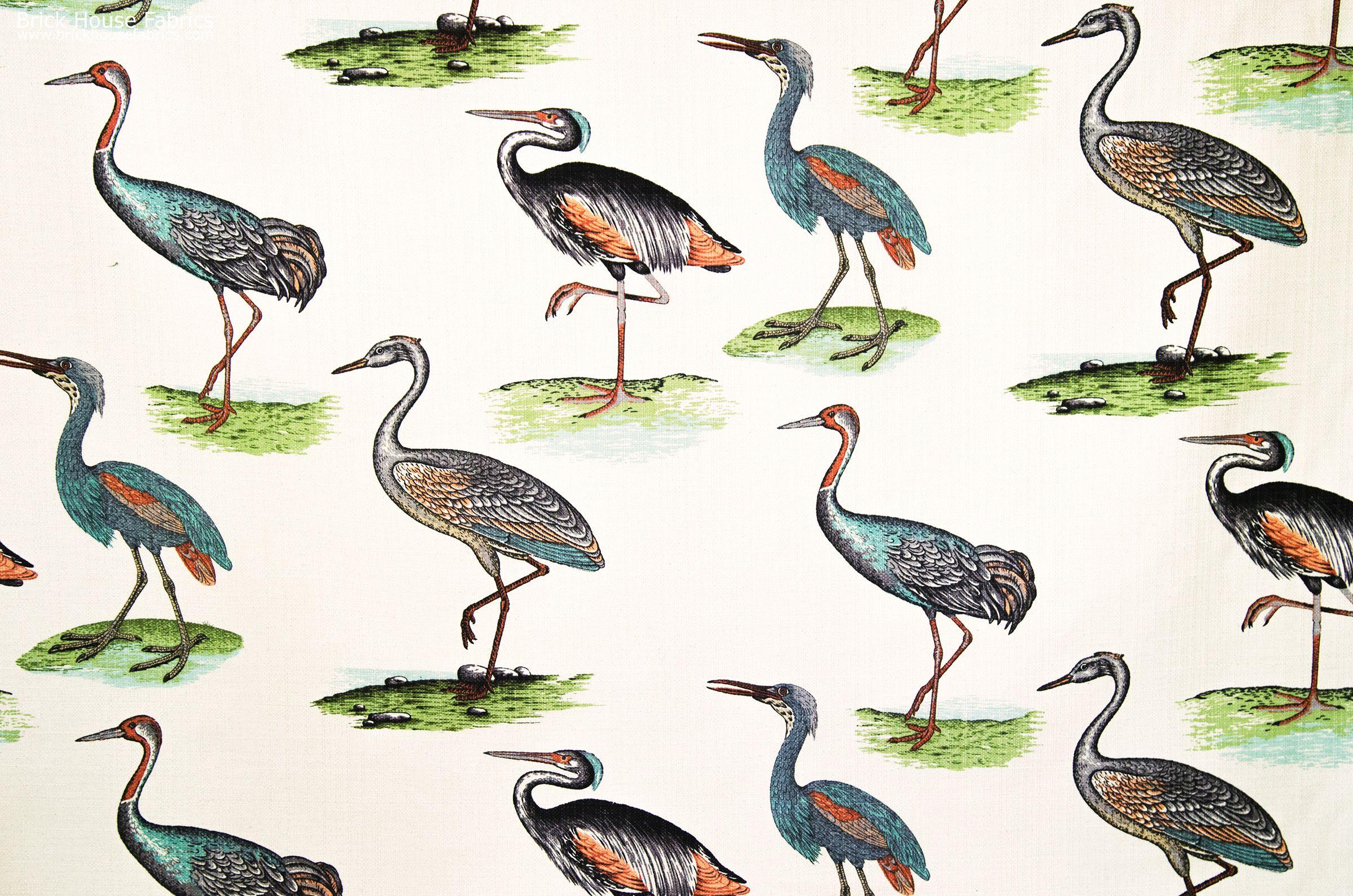 Blue Bird Fabric Heron Crane A Bird Fabric With Cranes Herons