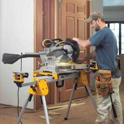 Dewalt 15 Amp 12 In Sliding Miter Saw With Bonus Heavy Duty Miter Saw Stand Dws780dwx723 The Home Depot Sliding Compound Miter Saw Dewalt Tools Miter Saw