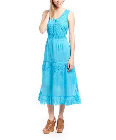 Another great find on #zulily! Turquoise Eyelet Button-Front Midi Dress by Aqua Blue #zulilyfinds