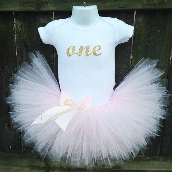 READY to SHIP Size 12 Months | Light Pink and Gold Birthday Tutu Outfit and Matching Headband | Glittery Gold ONE Top |Birthday Photo Prop by Zobows on Etsy