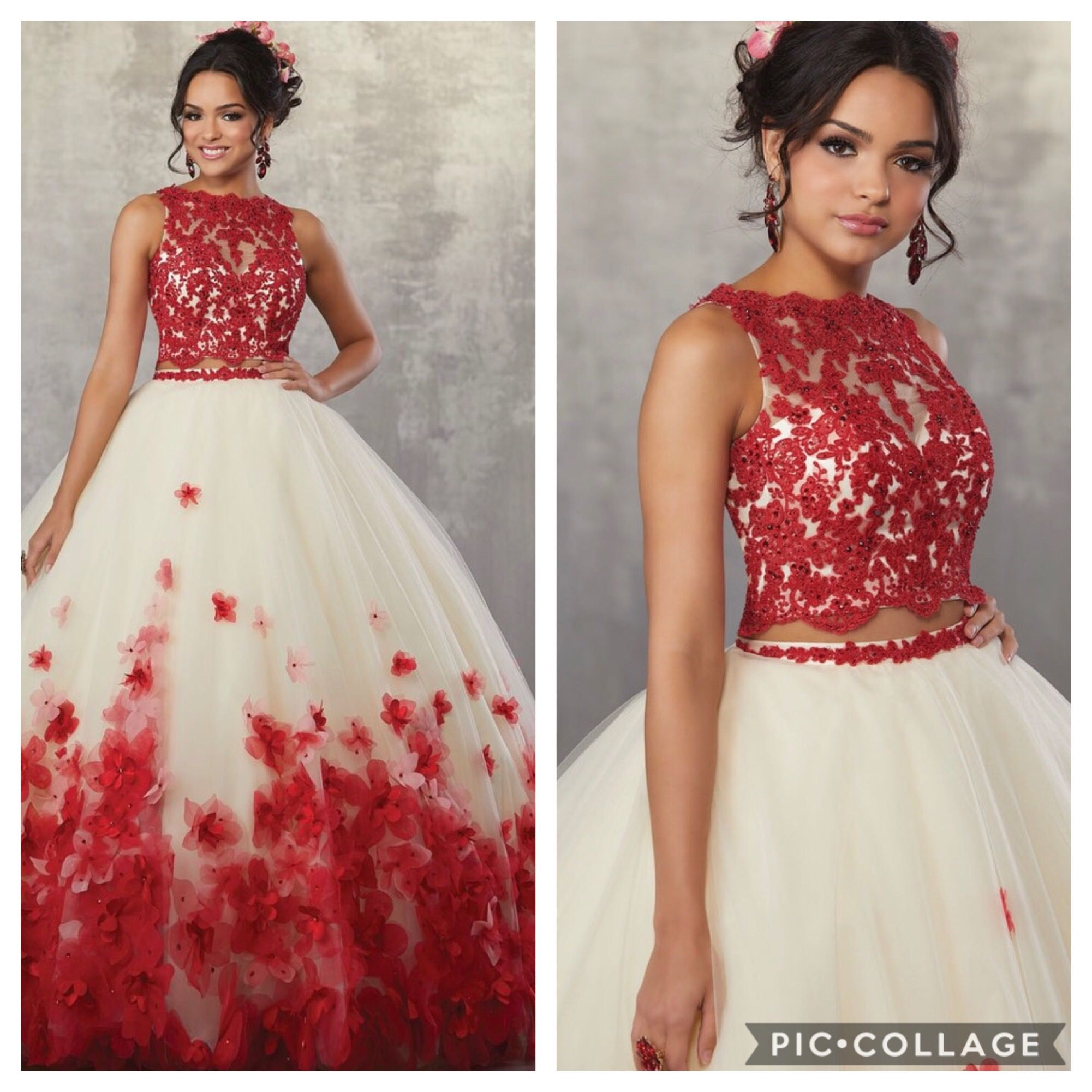 d51709b32ac09 Champagne/Red Two Piece Gown with beaded Lace on Net Top and Three ...
